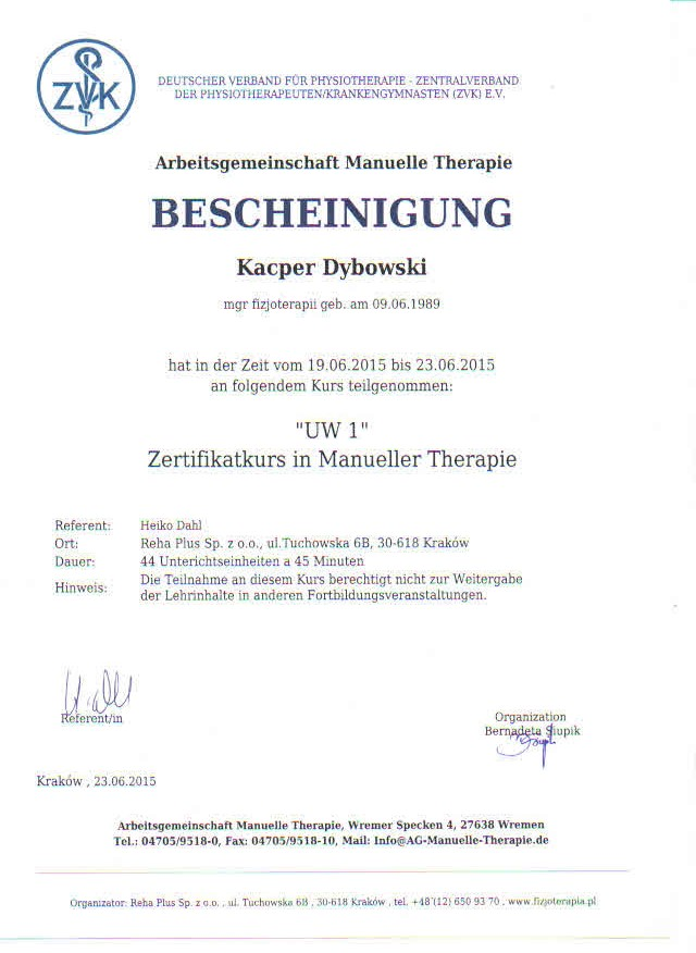 Arbeitsgemeinschaft Manuelle Therapie BESCHEINIGUNG